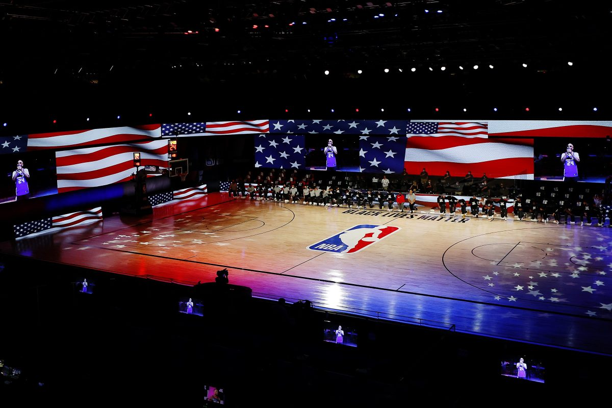The Pelicans and Kings during the National Anthem prior to the start of a game