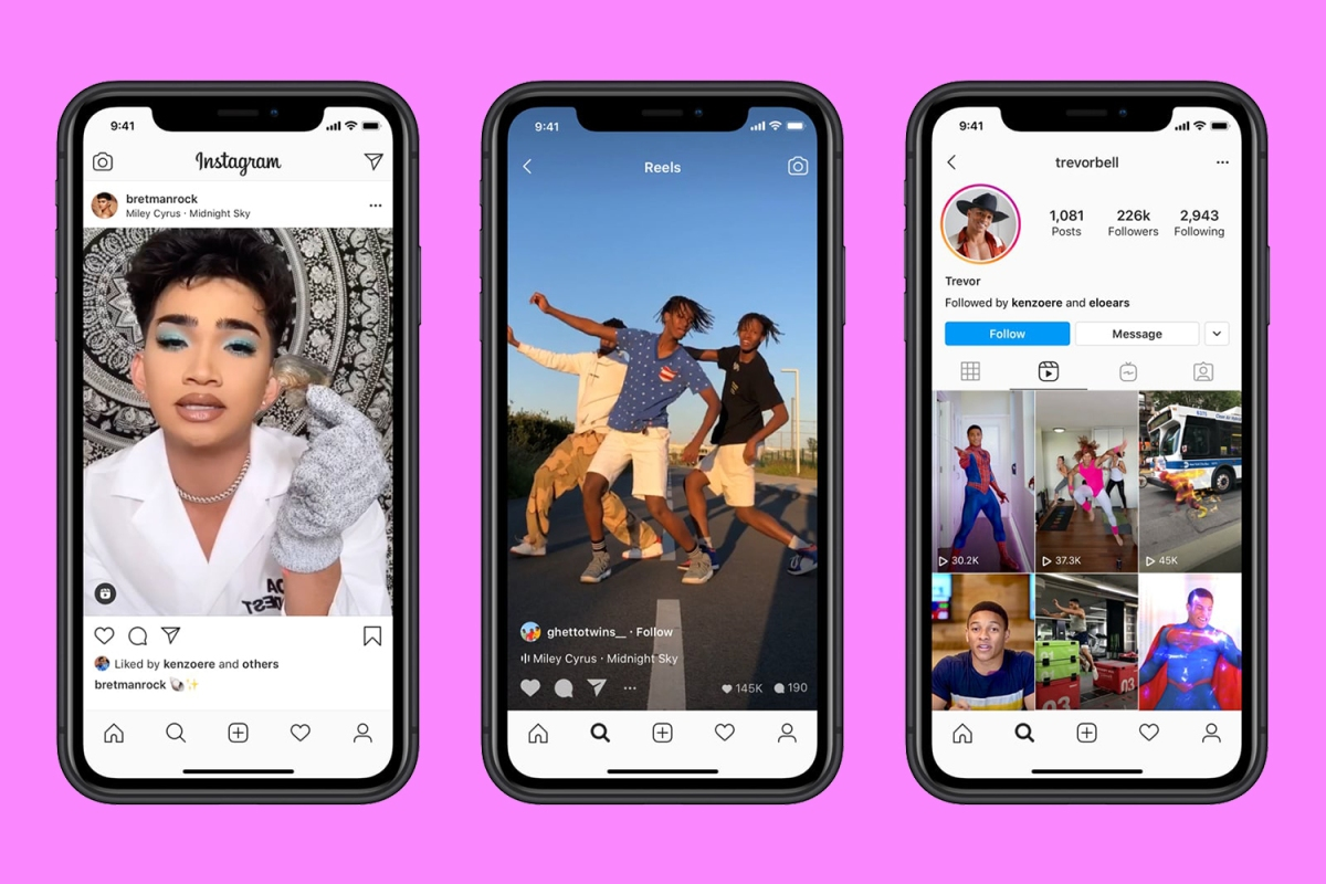 Three phones showing Facebook's new Instagram Reels TikTok competitor