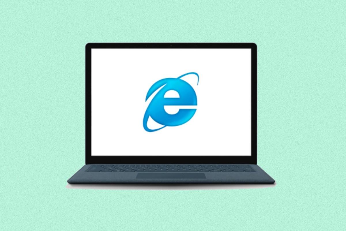 Internet Explorer browser logo on a laptop computer