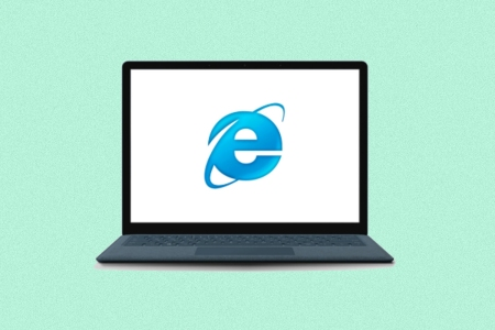 Internet Explorer browser logo on a laptop computer