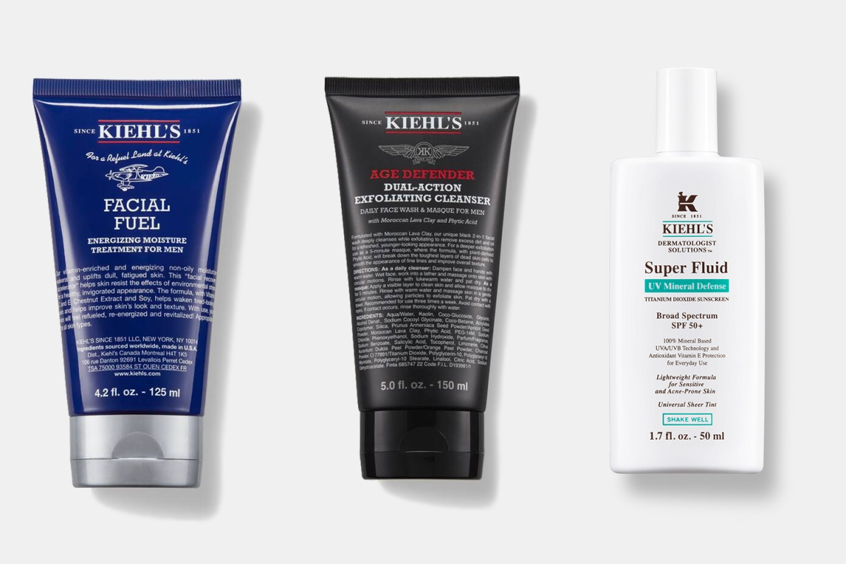 Kiehl's moisturizer, cleanse, face masks and sunscreen