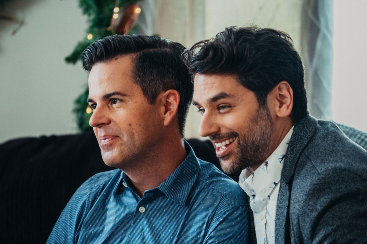 """A gay couple in the Lifetime holiday movie """"Twinkly All the Way"""""""