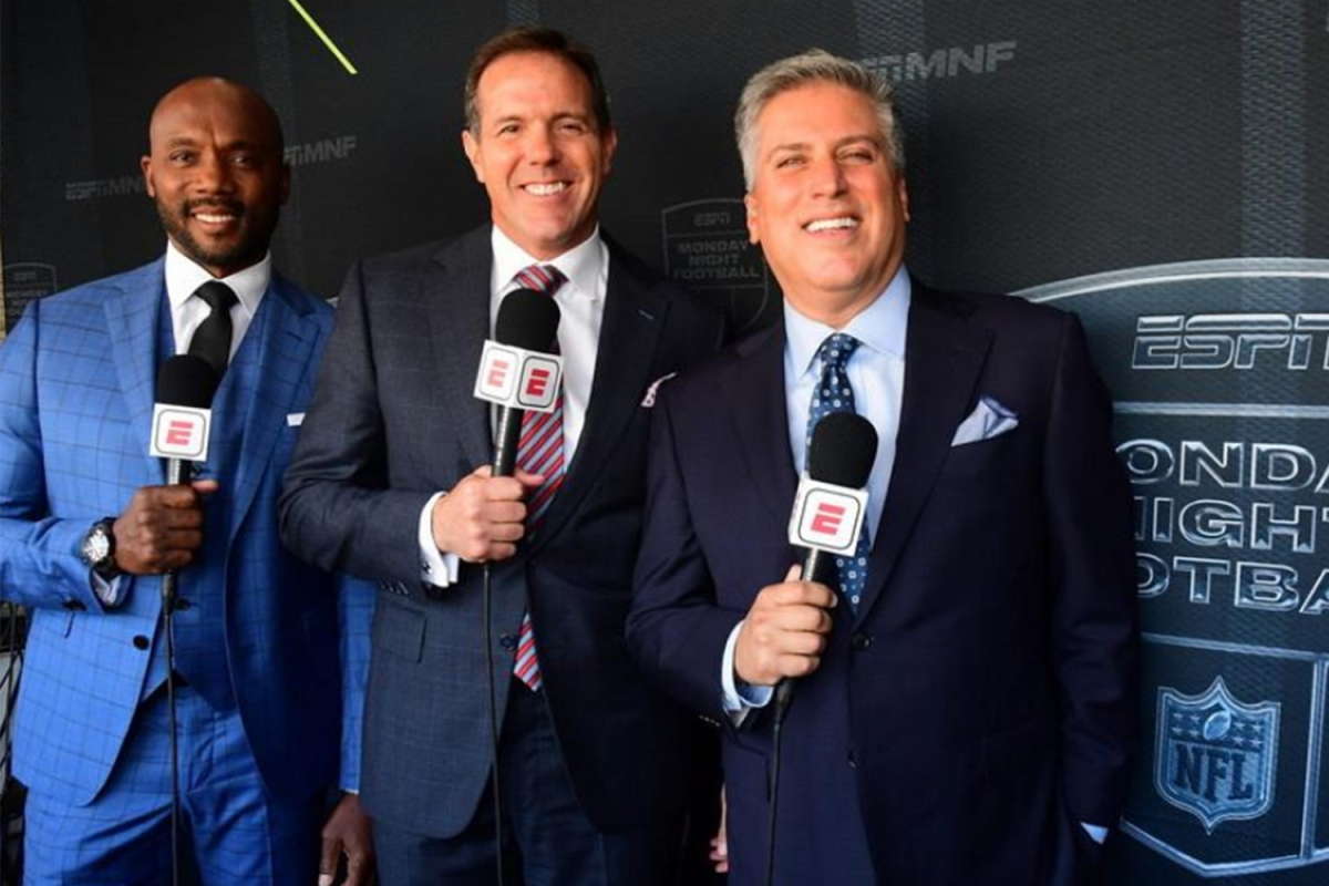 "Louis Riddick, Brian Griese and Steve Levy (L-R) will be the new ""Monday Night Football"" crew on ESPN"