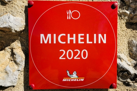 Michelin Guide 2020 sign at Château de Crussol, Chemin de Beauregard, Saint-Péray, France