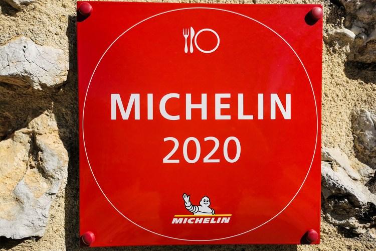 Michelin Guide 2020 sign at Château de Crussol, Chemin de Beauregard, Saint-Péray, France