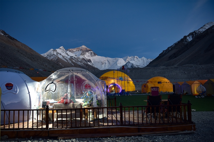 Domes in an Everest base camp in Shigatse, Tibet taken on May 19, 2020