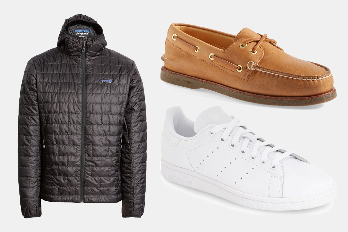 Patagonia Nano Puff Hooded Jacket, Sperry Gold cup Boat Shoes and Adidas Stan Smith sneakers