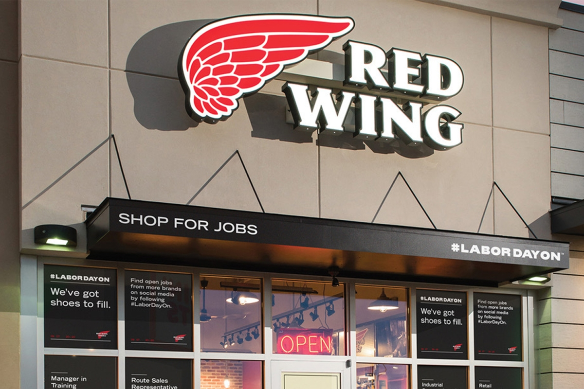 """Red Wing Shoe Company storefront for the """"Labor Day On"""" campaign"""