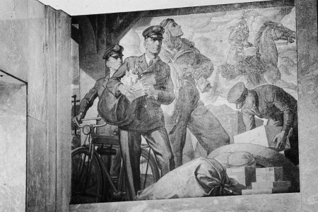 The history of the U.S. Postal Service mural by Robert L. Lambdin at a post office in Bridgeport, Connecticut in 1984.