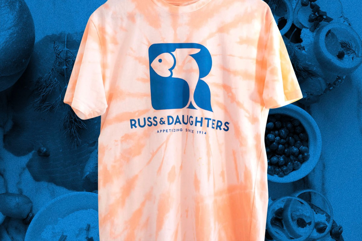 The Russ & Daughters/Jake Gyllenhaal collaborative t-shirt will raise money for the Independent Restaurant Coalition.