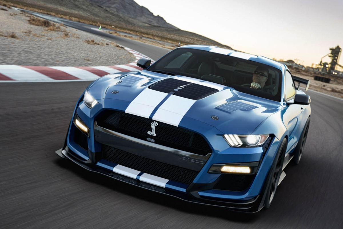 Shelby American Mustang GT500SE on a race track