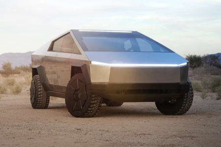 Tesla Cybertruck sitting in the desert