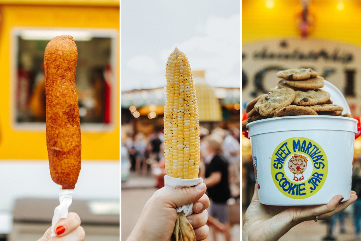 A corn dog, roasted corn on the cob and Sweet Martha's cookies from the Minnesota State Fair