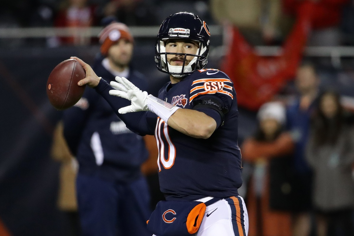 Mitchell Trubisky of the Chicago Bears throws a pass during warmups. (Jonathan Daniel/Getty)
