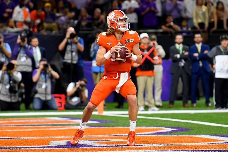Trevor Lawrence of the Clemson Tigers sits in the pocket