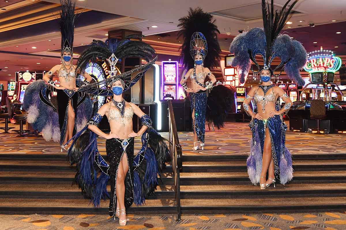 Las Vegas showgirls at Bally's Las Vegas reopening on July 23
