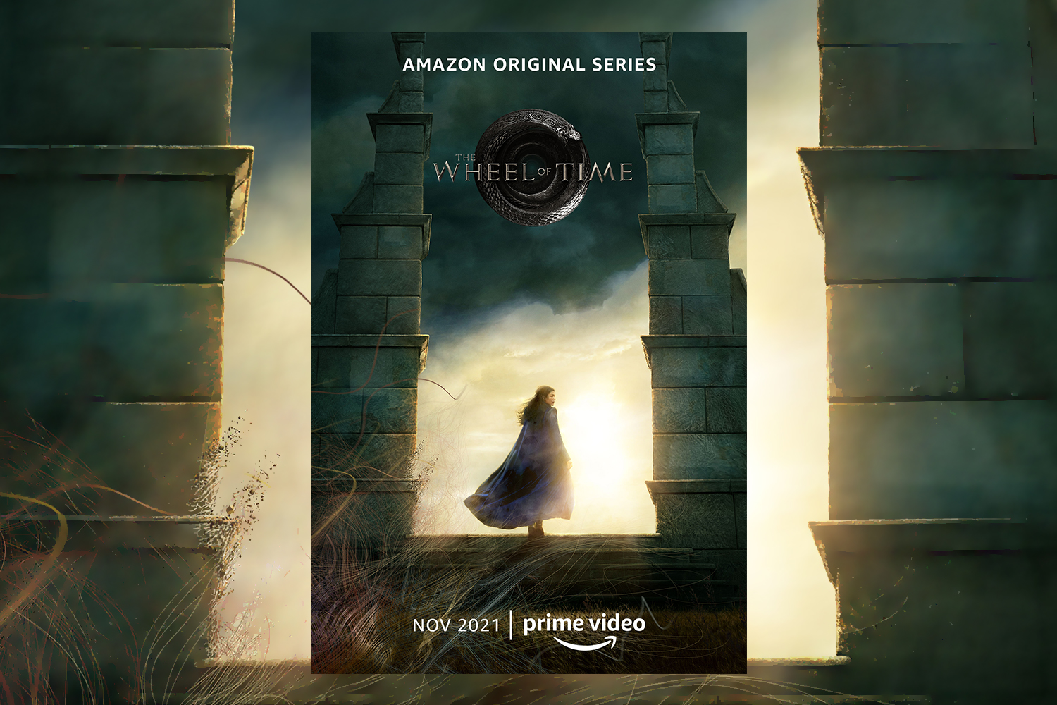"""A poster for the new Amazon Original Series """"The Wheel of Time,"""" which will debut on Prime Video in November. It's based on Robert Jordan's high fantasy book series."""