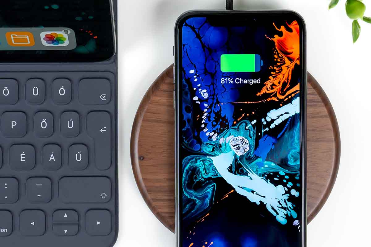 iphone on a wireless charging stand