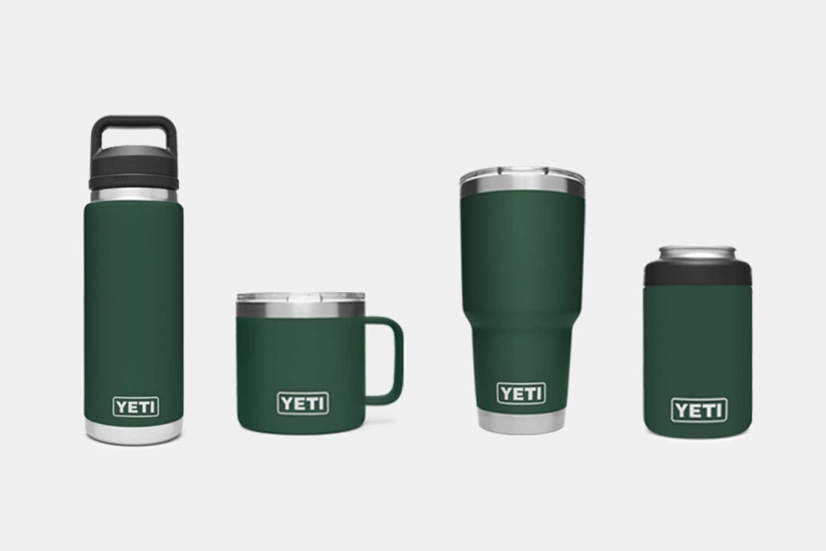 Yeti Northwoods Green collection of Rambler cans and bottles