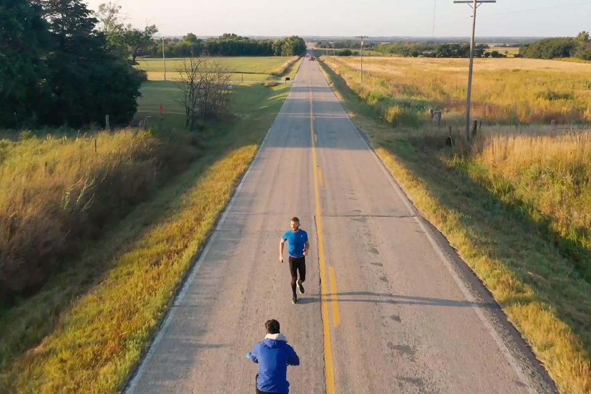 Aaron Yoder running a backwards mile