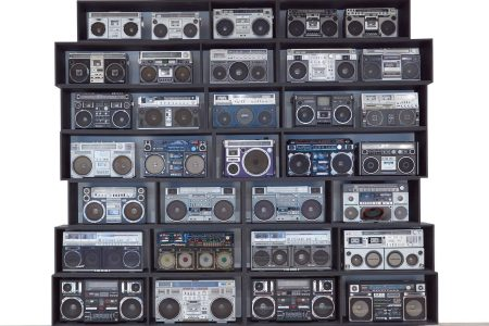 Created by DJ Ross One, The Wall of Boom (estimate $70-$100,000) is an art installation that features 32 vintage boomboxes.