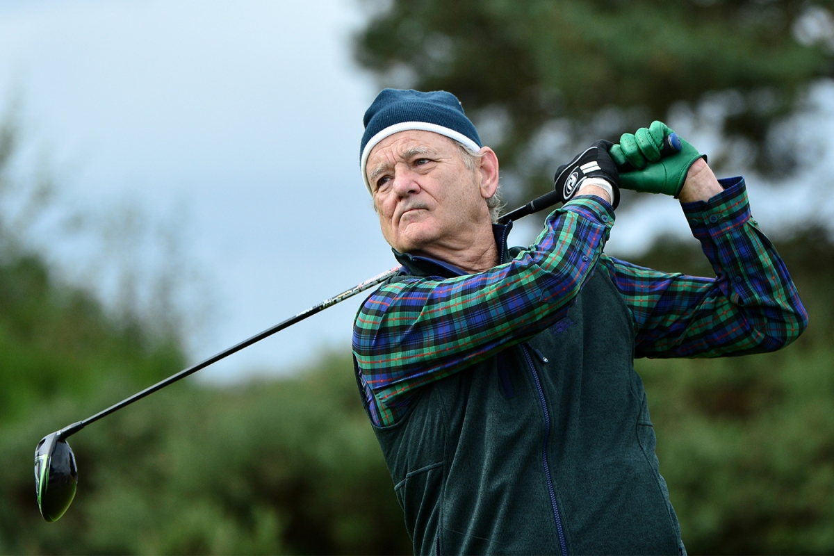 Actor Bill Murray tees off on the 14th hole during Day two of the Alfred Dunhill Links Championship at Carnoustie Golf Links on September 27, 2019 in St Andrews, United Kingdom