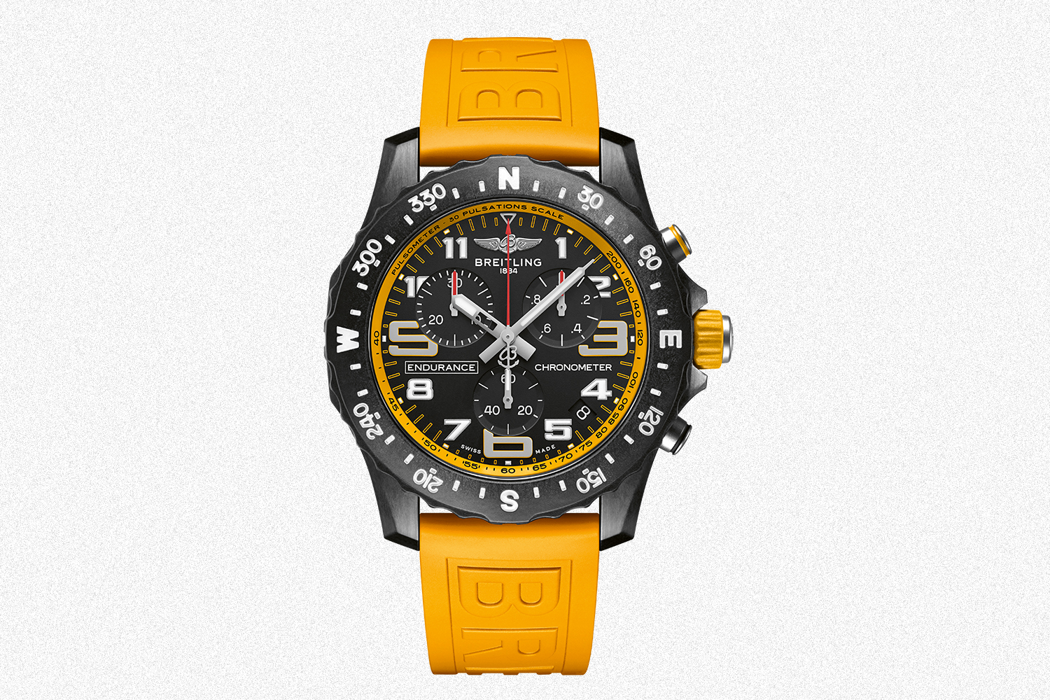 yellow Breitling Endurance Pro sports watch