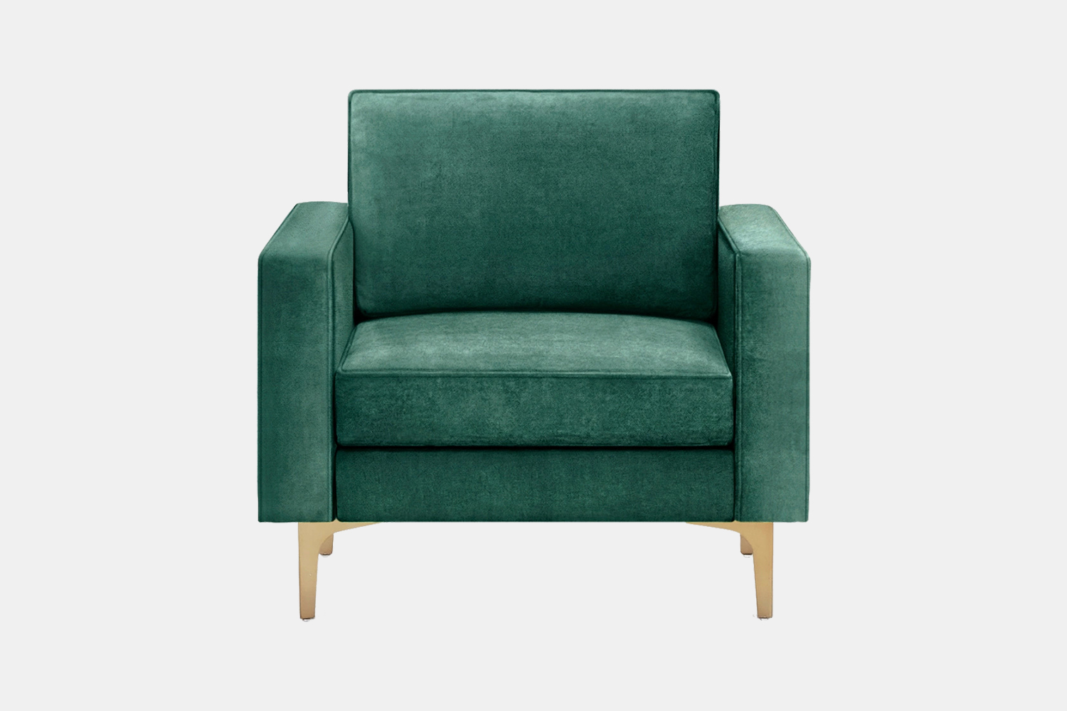 The Burrow Nomad Velvet Armchair in green with metal legs