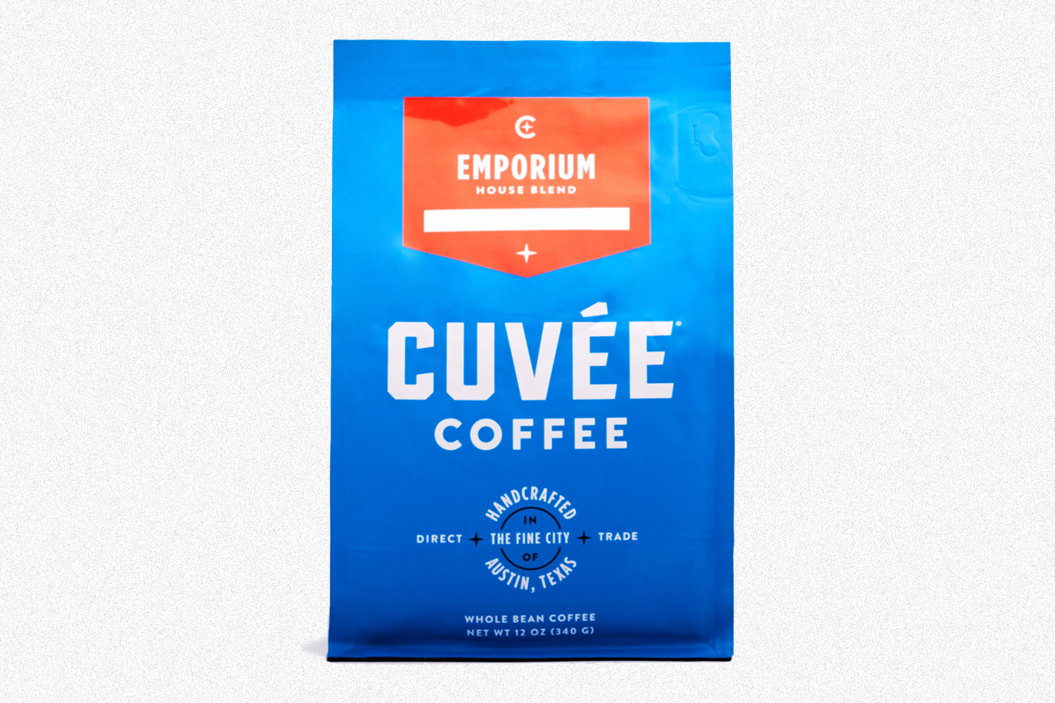 A blue bag of Cuvee coffee beans