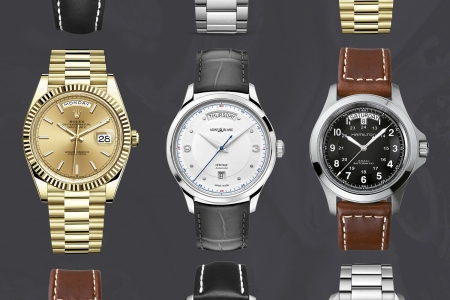 Day window watches from Rolex, Montblanc and Hamilton