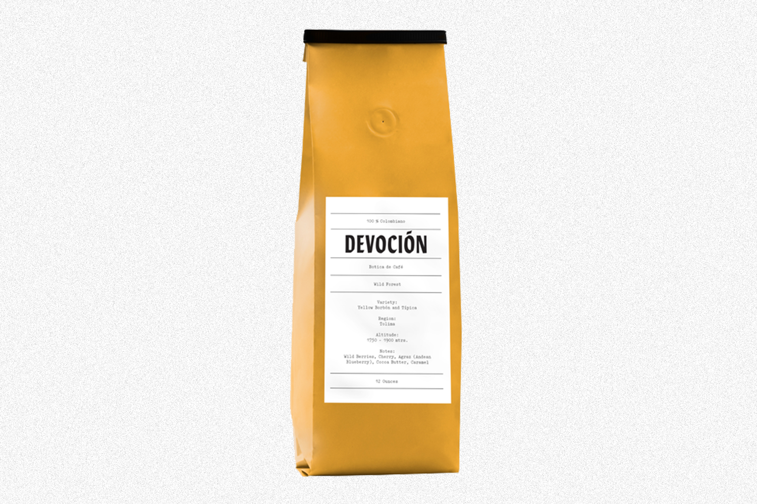 A yellow bag of Devoción coffee beans