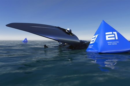 The electric hydrofoil boat RaceBird from the new E1 Series