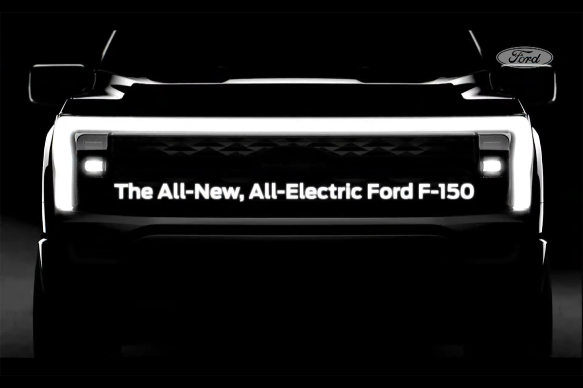 LED light bar on the front grille of the 2023 electric Ford F-150 pickup truck