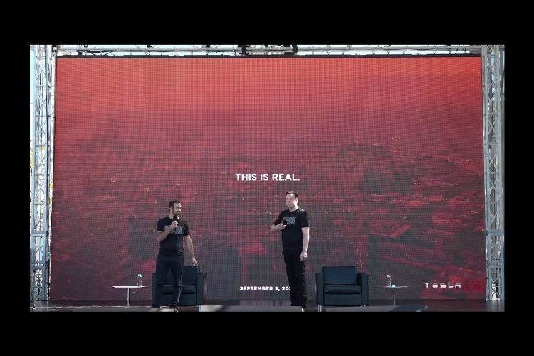 Elon Musk and Drew Baglino onstage during Tesla Battery Day in Fremont, California