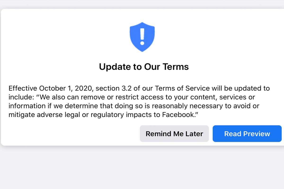 Facebook terms of service update screenshot