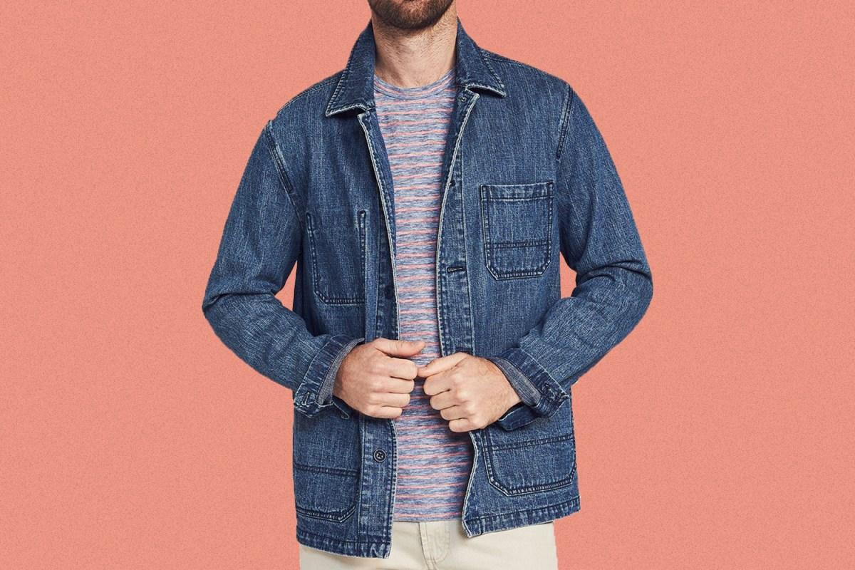 a man wearing the Faherty Bayshore Indigo Chore Jacket