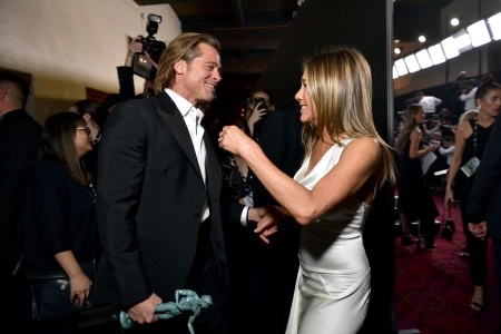 Brad Pitt and Jennifer Aniston attend the 26th Annual Screen ActorsGuild Awards at The Shrine Auditorium on January 19, 2020 in Los Angeles, California. (Photo by Emma McIntyre/Getty Images for Turner)