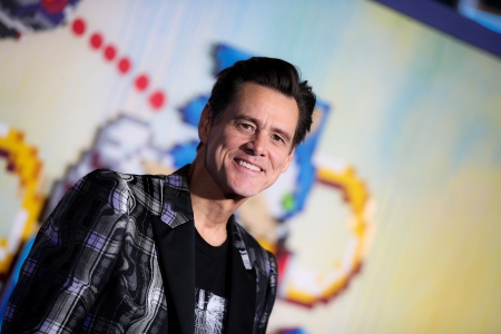 """Jim Carrey attends the LA special screening of Paramount's """"Sonic The Hedgehog"""" at Regency Village Theatre on February 12, 2020 in Westwood, Californi"""
