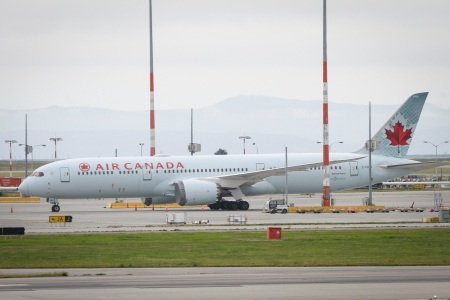 An Air Canada aircraft at the Vancouver International Airport on July 16, 2020