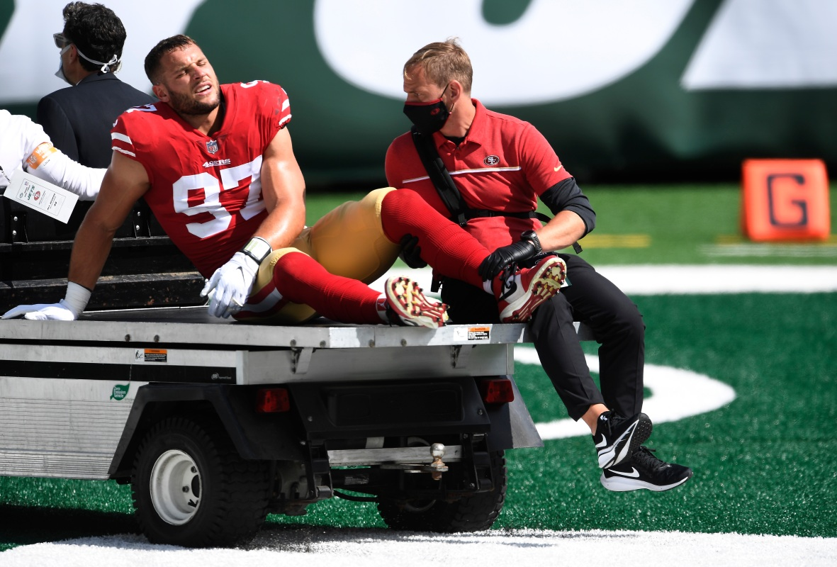 Nick Bosa was carted off the field after suffering an injury against the Jets