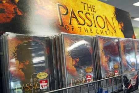 """DVDs of Mel Gibson's movie """"The Passion of the Christ"""" are seen in a movie rental store September 1, 2004 in Park Ridge, Illinois. (Photo by Tim Boyle/Getty Images)"""