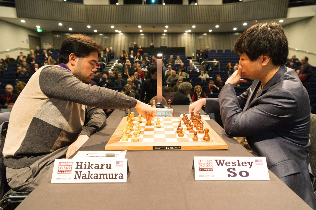 Chess players Hikaru Nakamura (L) and Wesley So (R) complete in the London Chess Classic in London, United Kingdom on December 9, 2016. The Grand Chess Tour offers £450,000 in prize money and has staged tournaments in Paris, Leuven and St Louis.