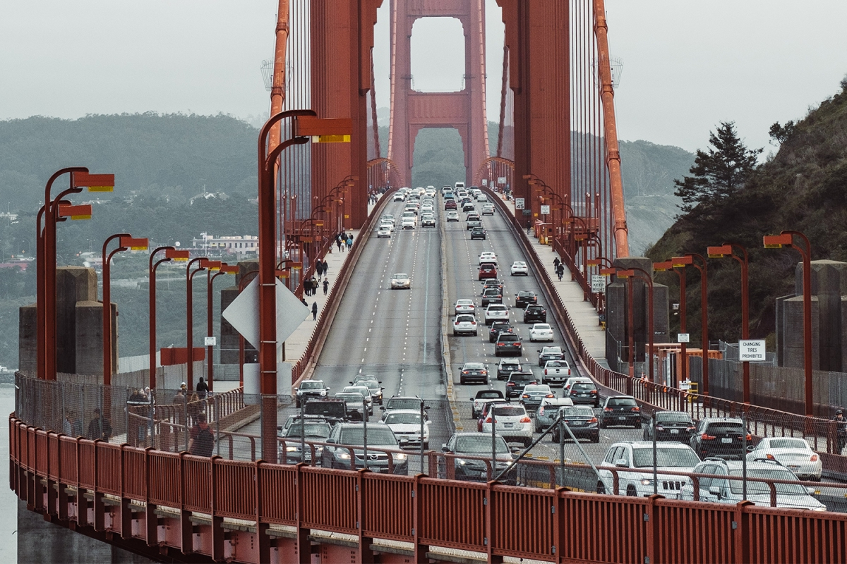 Cars driving across the Golden Gate Bridge in San Francisco, California