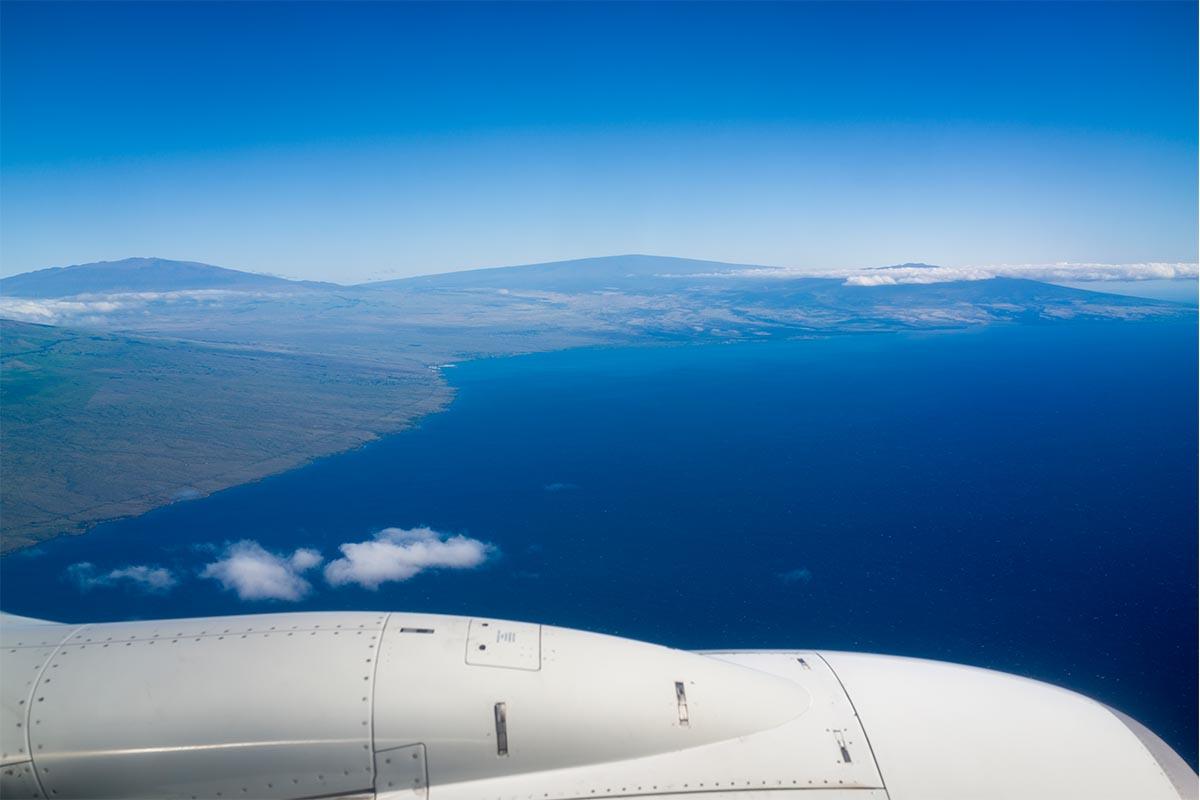 Hawaii from an airplane window