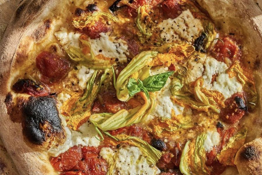 Justin Smillie's cast-iron zucchini pizza.
