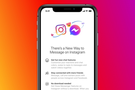 A phone opened up to Instagram and Facebook Messenger