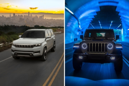 Jeep Grand Wagoneer Concept SUV and Wrangler 4xe Plug-In Hybrid driving down the road