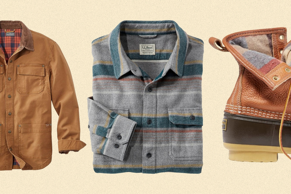 L.L.Bean men's shirt jacket, flannel shirt and flannel-lined Bean boots