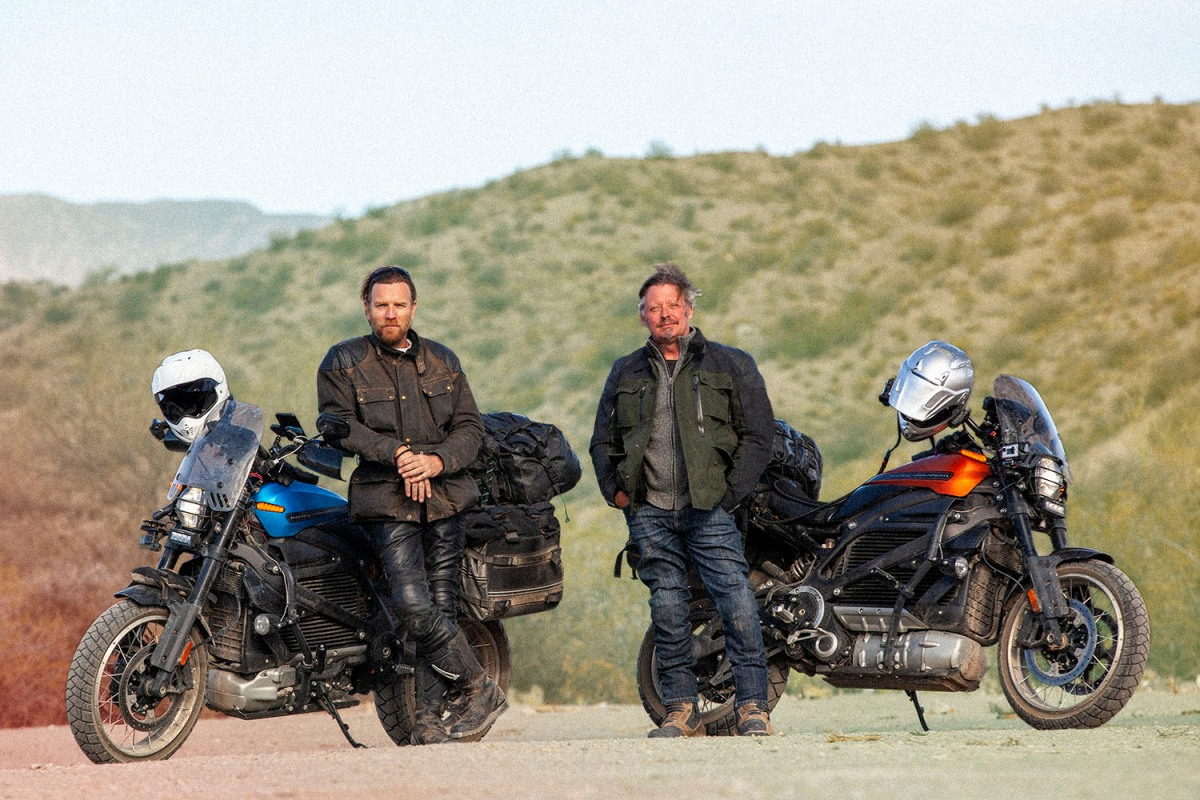 "Ewan McGregor and Charley Boorman next to electric Harley-Davidson LiveWire motorcycles in ""Long Way Up"""
