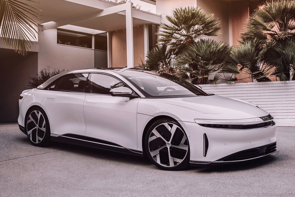 The new Lucid Air electric sedan in white from Lucid Motors